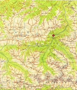 Туристская карта Архыза с указанием гор, перевалов и высот в мелком масштабе